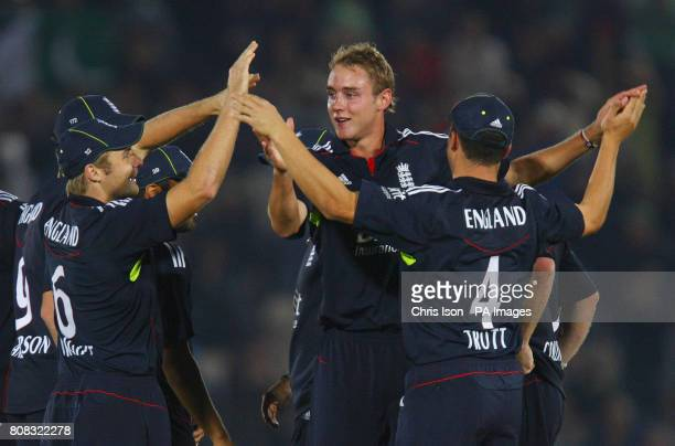 England bowler Stuart Broad takes the wicket of Mohammad Hafeez during the fifth one day international at The Rose Bowl Southampton