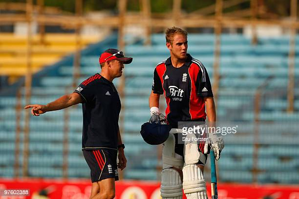 England bowler Stuart Broad talks with coach Andy Flower during England nets at Jahur Ahmed Chowdhury Stadium on March 10 2010 in Chittagong...