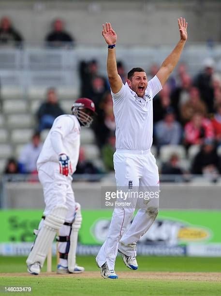 England bowler Tim Bresnan appeals with success for the wicket of West Indies batsman Marlon Samuels during day three of the 3rd Investec Test match...