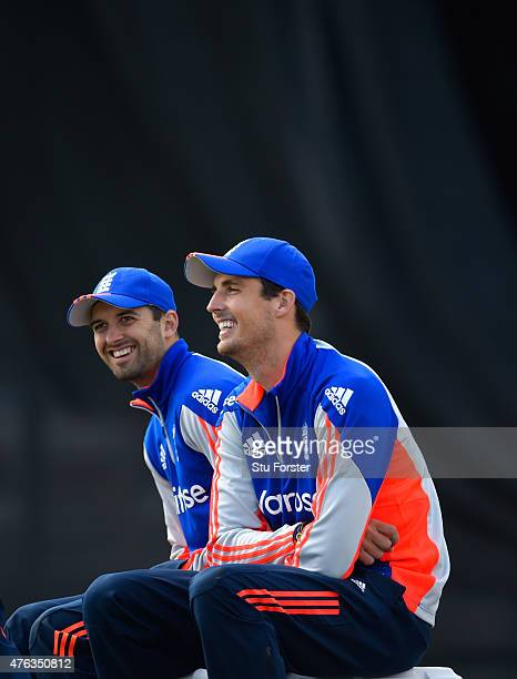 England bowlers Mark Wood and Steven Finn share a joke during England nets ahead of the first Royal London One day series match against New Zealand...