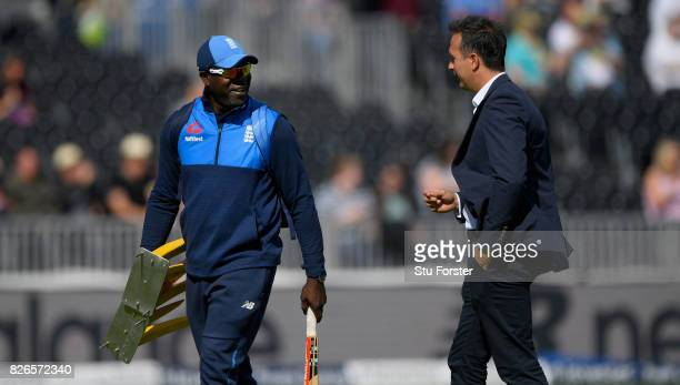 England bowling coach Ottis Gibson talks with Michael Vaughan before day two of the 4th Investec Test match between England and South Africa at Old...
