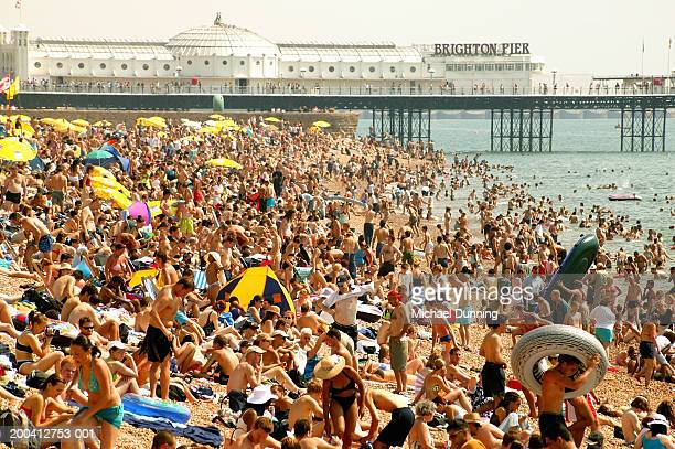 England, Brighton, crowded beach, summer