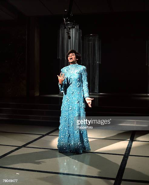 England British singer Shirley Bassey is pictured performing