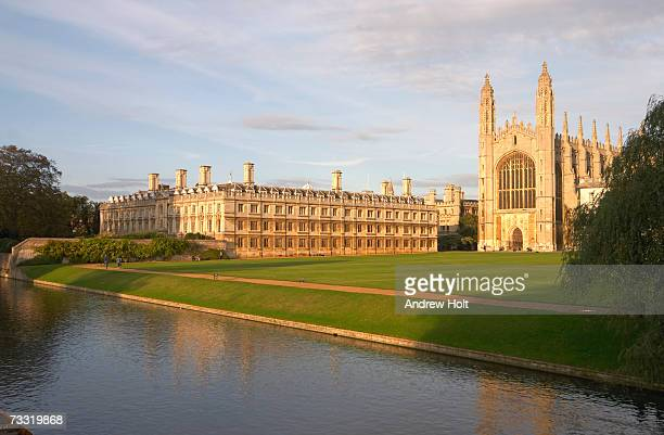 England, Cambridge, Cambridge University, King's College and Clare College at dusk
