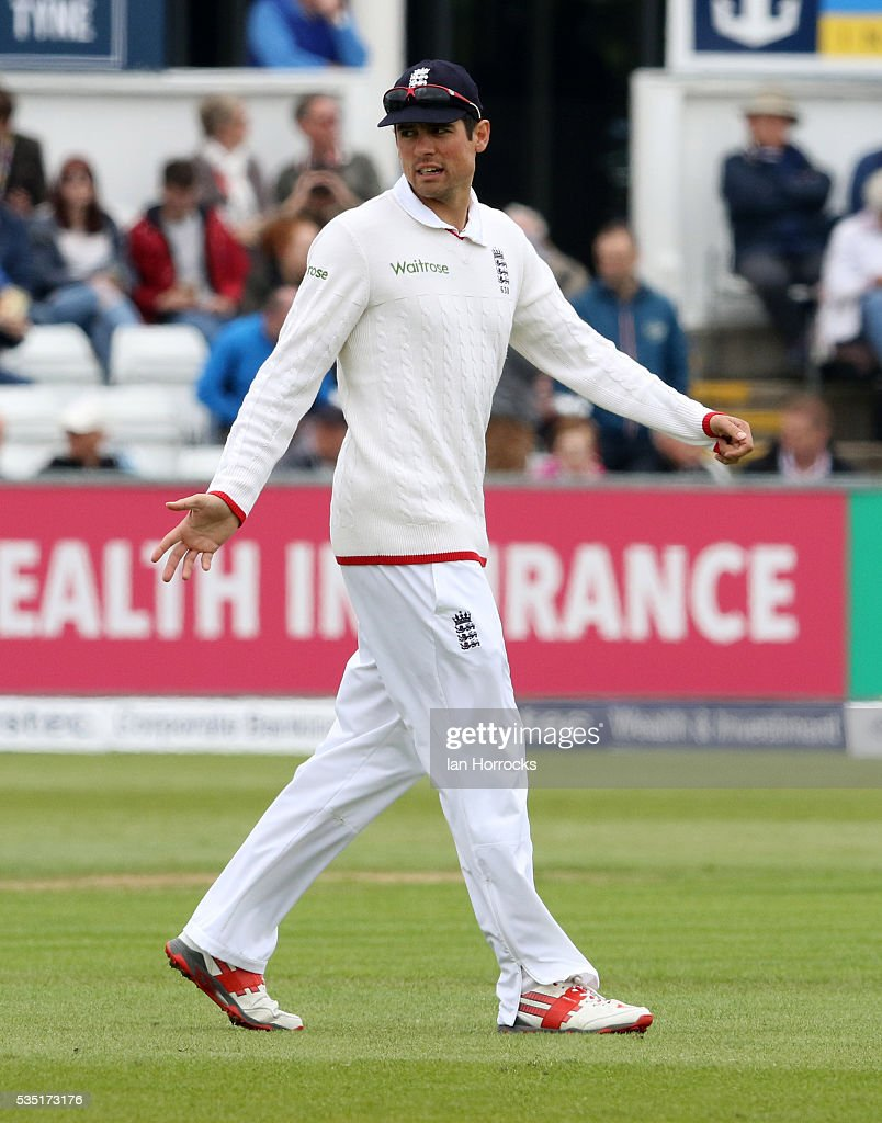 England capatain Alastair Cook during day three of the 2nd Investec Test match between England and Sri Lanka at Emirates Durham ICG on May 29, 2016 in Chester-le-Street, United Kingdom.