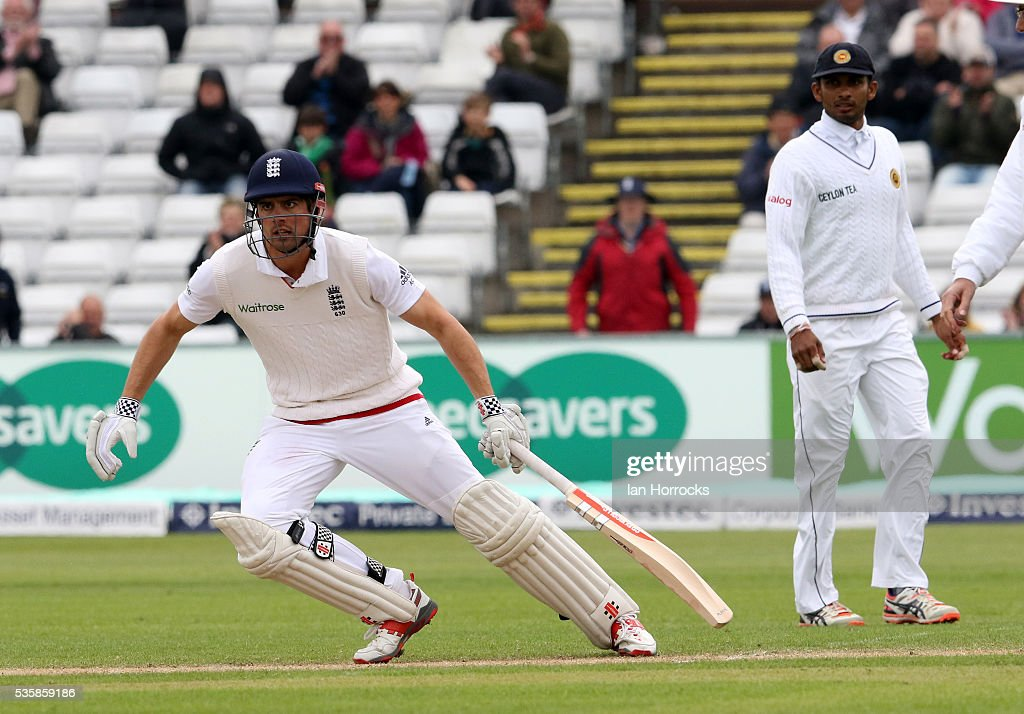 England captain Alastair Cook after hitting a boundry to take him to ten thousand test runs during day four of the 2nd Investec Test match between England and Sri Lanka at Emirates Durham ICG on May 30, 2016 in Chester-le-Street, United Kingdom.