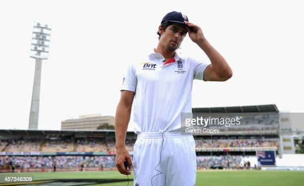 England captain Alastair Cook after losing the Third Ashes Test Match between Australia and England at WACA on December 17 2013 in Perth Australia