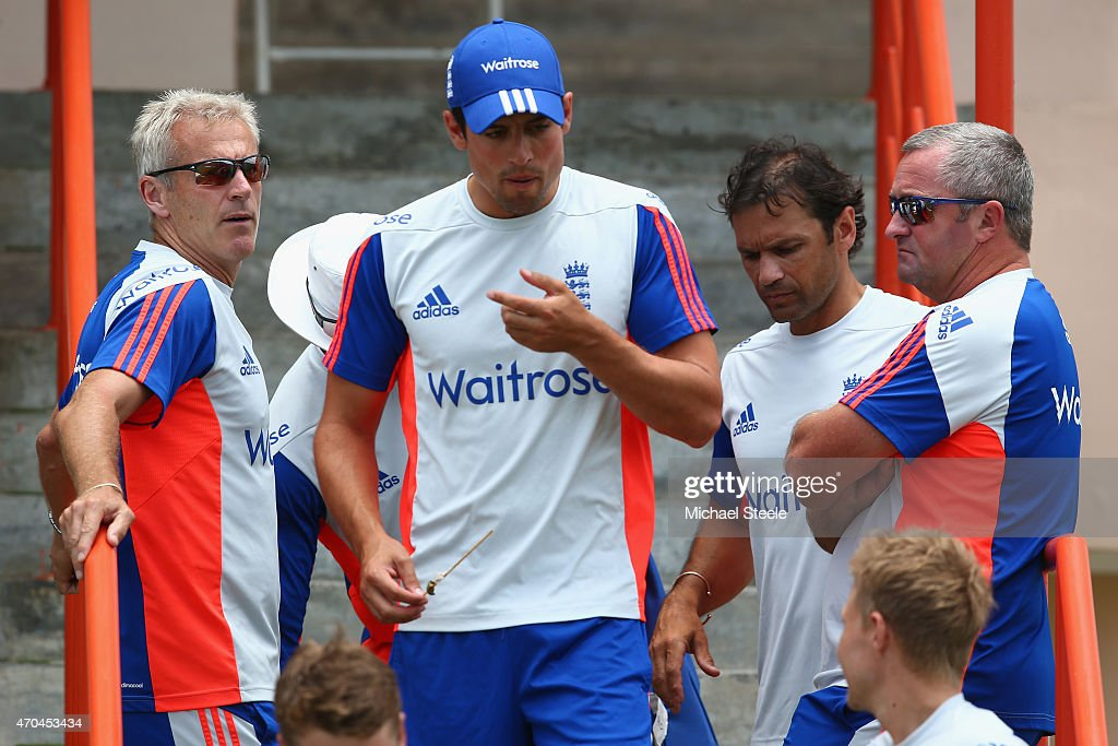 England captain <a gi-track='captionPersonalityLinkClicked' href=/galleries/search?phrase=Alastair+Cook+-+Cricket+Player&family=editorial&specificpeople=571475 ng-click='$event.stopPropagation()'>Alastair Cook</a> (C) alongside Head Coach <a gi-track='captionPersonalityLinkClicked' href=/galleries/search?phrase=Peter+Moores&family=editorial&specificpeople=2200652 ng-click='$event.stopPropagation()'>Peter Moores</a> (L) <a gi-track='captionPersonalityLinkClicked' href=/galleries/search?phrase=Paul+Farbrace&family=editorial&specificpeople=3595939 ng-click='$event.stopPropagation()'>Paul Farbrace</a> (R) assistant coach and <a gi-track='captionPersonalityLinkClicked' href=/galleries/search?phrase=Mark+Ramprakash&family=editorial&specificpeople=240276 ng-click='$event.stopPropagation()'>Mark Ramprakash</a> (2R) batting coach during the England nets session at the National Cricket Ground Stadium in St George's on April 20, 2015 in Grenada, Grenada.