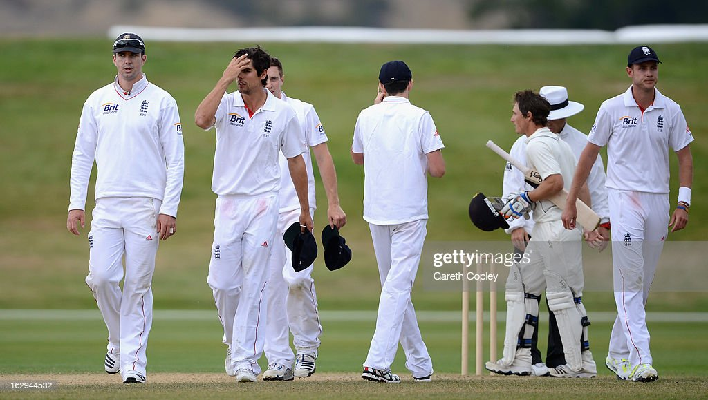 England captain Alastair Cook alongside Kevin Pietersen and Stuart Broad reacts after losing the International Tour Match between the New Zealand XI and England at Queenstown Events Centre on March 2, 2013 in Queenstown, New Zealand.