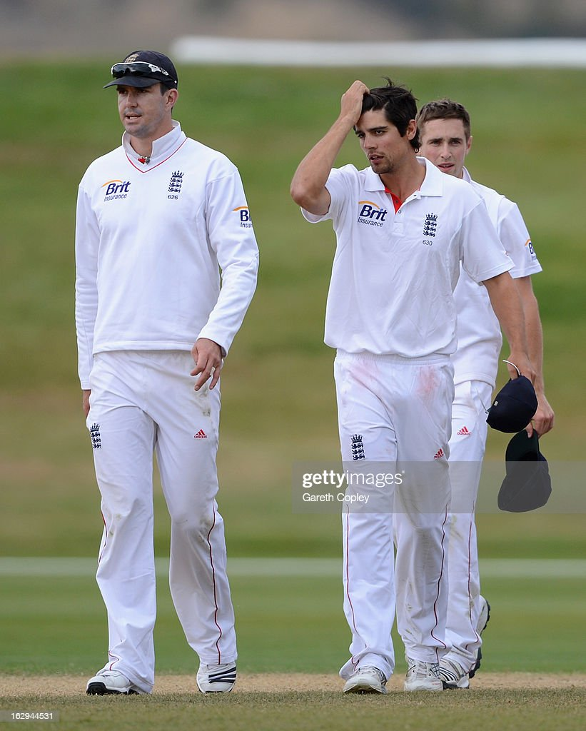 England captain Alastair Cook alongside Kevin Pietersen reacts after losing the International Tour Match between the New Zealand XI and England at Queenstown Events Centre on March 2, 2013 in Queenstown, New Zealand.