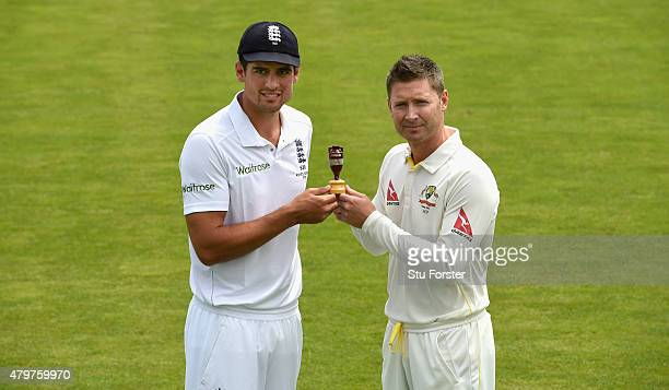 England captain Alastair Cook and Australia captain Michael Clarke pictured with an Ashes replica ahead of the 1st Investec Ashes Test match between...