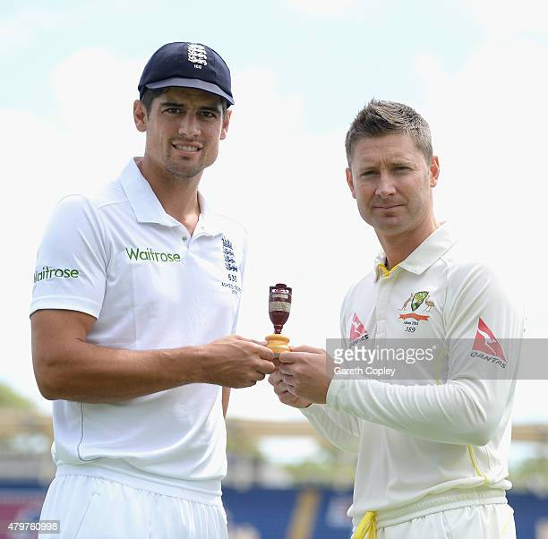 England captain Alastair Cook and Australian captain Michael Clarke poses with the Ashes urn ahead of the 1st Investec Ashes Test match between...