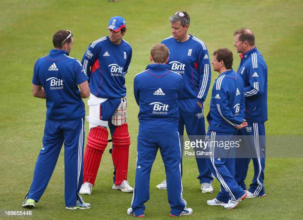 England Captain Alastair Cook and England Coach Ashley Giles talk to members of the coaching staff during an England nets session ahead of the one...