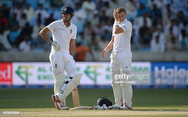 England captain Alastair Cook and Joe Root during day two of the 2nd test match between Pakistan and England at Dubai Cricket Stadium on October 23...