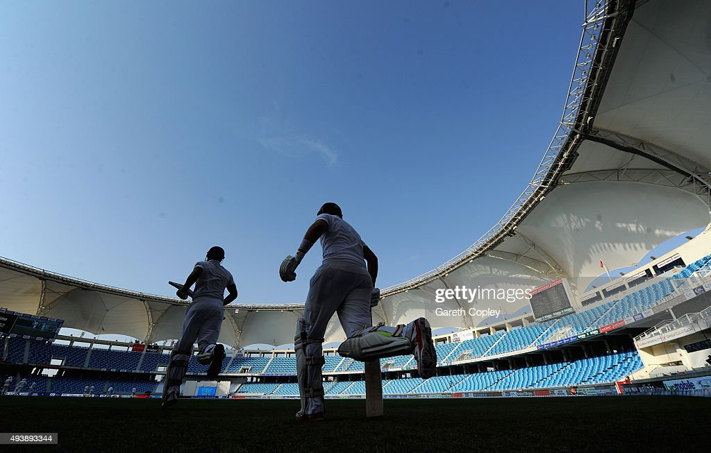 England captain Alastair Cook and Joe Root run out to bat after tea during day two of the 2nd test match between Pakistan and England at Dubai...