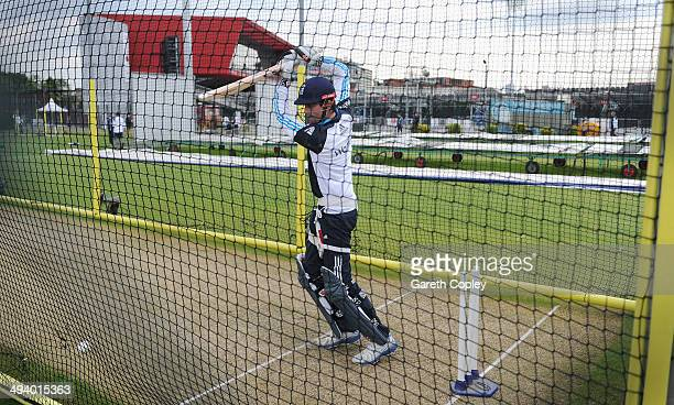 England captain Alastair Cook bats during a nets session at Old Trafford on May 27 2014 in Manchester England