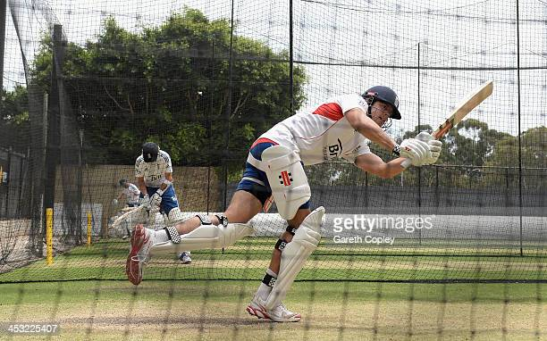 England captain Alastair Cook bats during an England nets session at Adelaide Oval on December 3 2013 in Adelaide Australia