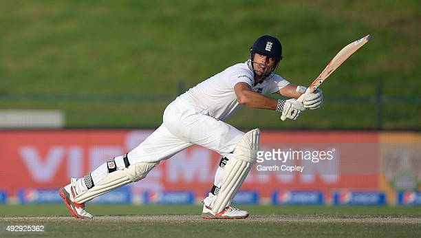 England captain Alastair Cook bats during day four of the 1st Test between Pakistan and England at Zayed Cricket Stadium on October 16 2015 in Abu...