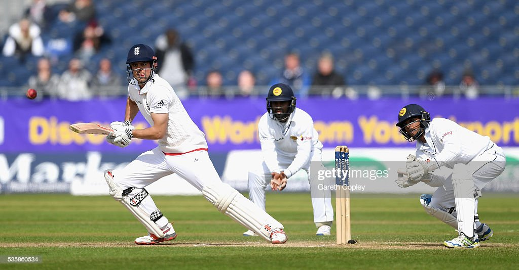 England captain <a gi-track='captionPersonalityLinkClicked' href=/galleries/search?phrase=Alastair+Cook+-+Cricketspeler&family=editorial&specificpeople=571475 ng-click='$event.stopPropagation()'>Alastair Cook</a> bats during day four of the 2nd Investec Test match between England and Sri Lanka at Emirates Durham ICG on May 30, 2016 in Chester-le-Street, United Kingdom.
