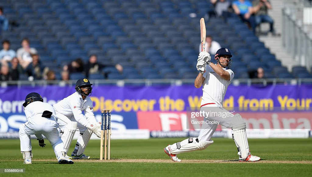 England captain <a gi-track='captionPersonalityLinkClicked' href=/galleries/search?phrase=Alastair+Cook+-+Cricket+Player&family=editorial&specificpeople=571475 ng-click='$event.stopPropagation()'>Alastair Cook</a> bats during day four of the 2nd Investec Test match between England and Sri Lanka at Emirates Durham ICG on May 30, 2016 in Chester-le-Street, United Kingdom.