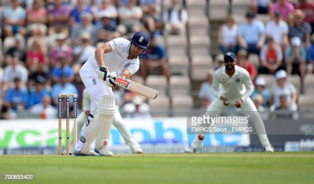 England captain Alastair Cook bats during day one of the Third Investec Test match at the Ageas Bowl Southampton