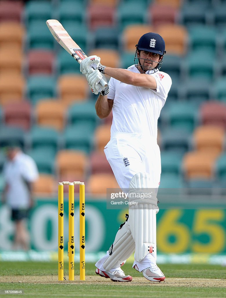 England captain <a gi-track='captionPersonalityLinkClicked' href=/galleries/search?phrase=Alastair+Cook+-+Cricket+Player&family=editorial&specificpeople=571475 ng-click='$event.stopPropagation()'>Alastair Cook</a> bats during day one of the tour match between Australia A and England at Blundstone Arena on November 6, 2013 in Hobart, Australia.