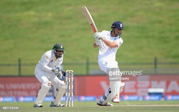 England captain Alastair Cook bats during day three of the 1st Test between Pakistan and England at Zayed Cricket Stadium on October 15 2015 in Abu...