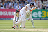 England captain Alastair Cook bats during day three of the 2nd Investec Ashes Test match between England and Australia at Lord's Cricket Ground on...