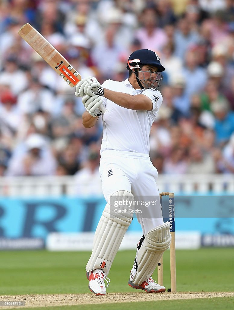England captain Alastair Cook bats during day three of the 3rd Investec Test between England and Pakistan at Edgbaston on August 5, 2016 in Birmingham, England.
