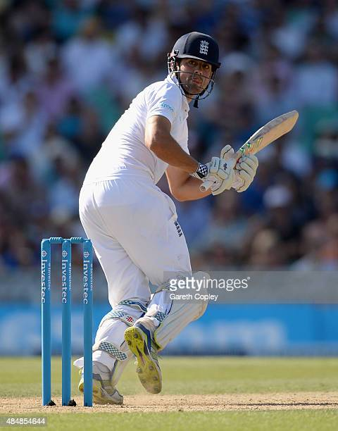 England captain Alastair Cook bats during day three of the 5th Investec Ashes Test match between England and Australia at The Kia Oval on August 22...