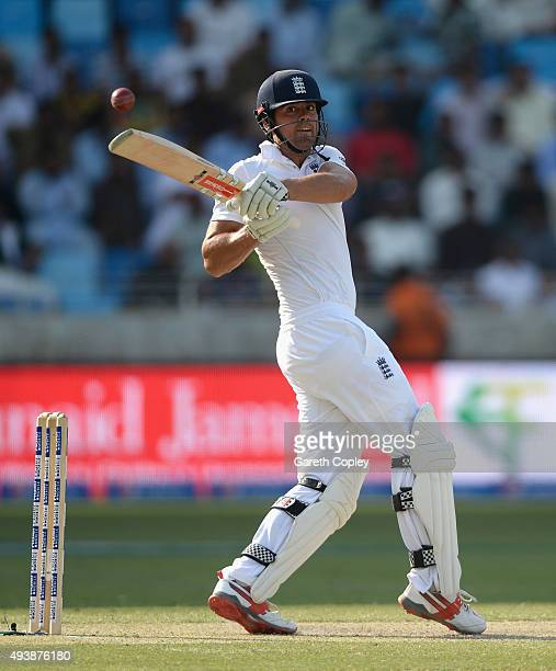 England captain Alastair Cook bats during day two of the 2nd test match between Pakistan and England at Dubai Cricket Stadium on October 23 2015 in...