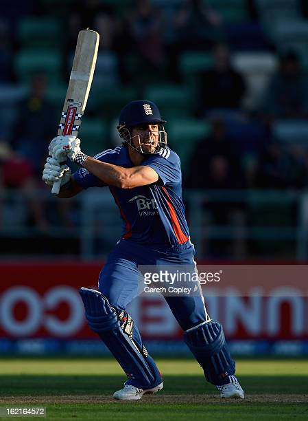 England captain Alastair Cook bats during the second match of the international Twenty20 series between New Zealand and England at McLean Park on...