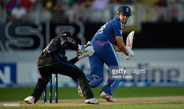 England captain Alastair Cook bats during the third game in the International One Day series between New Zealand and England at Eden Park on February...
