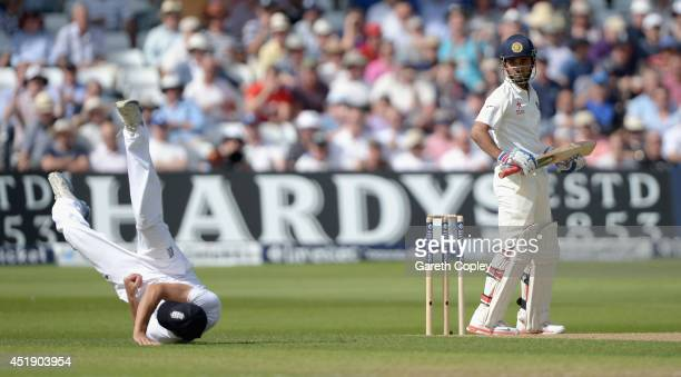 England captain Alastair Cook catches out Ajinkya Rahane of India during day one of 1st Investec Test match between England and India at Trent Bridge...
