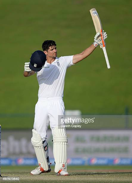 England captain Alastair Cook celebrates reaching his 250 during day four of the 1st Test between Pakistan and England at Zayed Cricket Stadium on...
