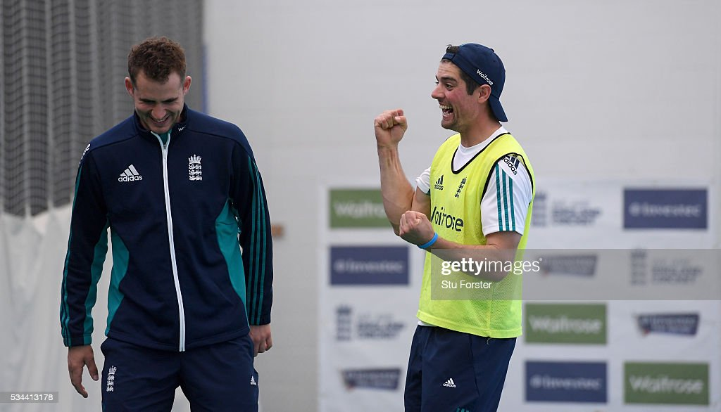 England captain <a gi-track='captionPersonalityLinkClicked' href=/galleries/search?phrase=Alastair+Cook+-+Joueur+de+cricket&family=editorial&specificpeople=571475 ng-click='$event.stopPropagation()'>Alastair Cook</a> (r) celebrates victory in a football penalty shoot out as defeated opening partner <a gi-track='captionPersonalityLinkClicked' href=/galleries/search?phrase=Alex+Hales&family=editorial&specificpeople=5129140 ng-click='$event.stopPropagation()'>Alex Hales</a> looks on during England Nets session ahead of the 2nd Investec Test match between England and Sri Lanka at Emirates Durham ICG on May 26, 2016 in Chester-le-Street, United Kingdom.