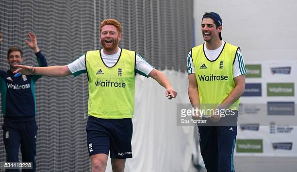 England captain Alastair Cook celebrates victory in a football penalty shoot out with Jonny Bairstow during England Nets session ahead of the 2nd...