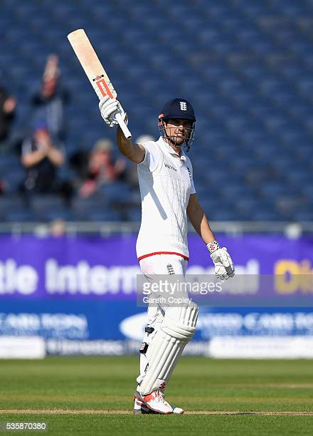 England captain Alastair Cook celebrates winning the 2nd Investec Test match between England and Sri Lanka at Emirates Durham ICG on May 30 2016 in...