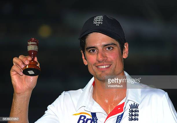 England Captain Alastair Cook celebrates winning the Investec Ashes Series as he holds the famous urn during Day Five of the 5th Investec Ashes Test...
