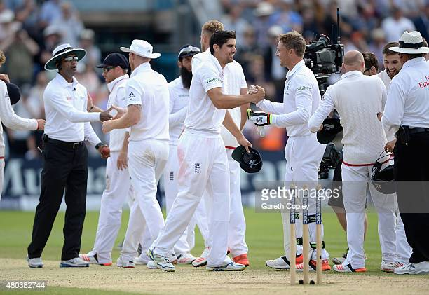 England captain Alastair Cook celebrates with Jos Buttler after winning the 1st Investec Ashes Test match between England and Australia at SWALEC...