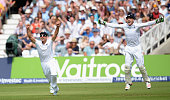 England captain Alastair Cook celebrates with Jos Buttler after winning the 4th Investec Ashes Test match between England and Australia at Trent...