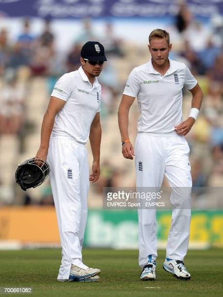 England captain Alastair Cook chats with Stuart Broad during day two of the Third Investec Test match at the Ageas Bowl Southampton