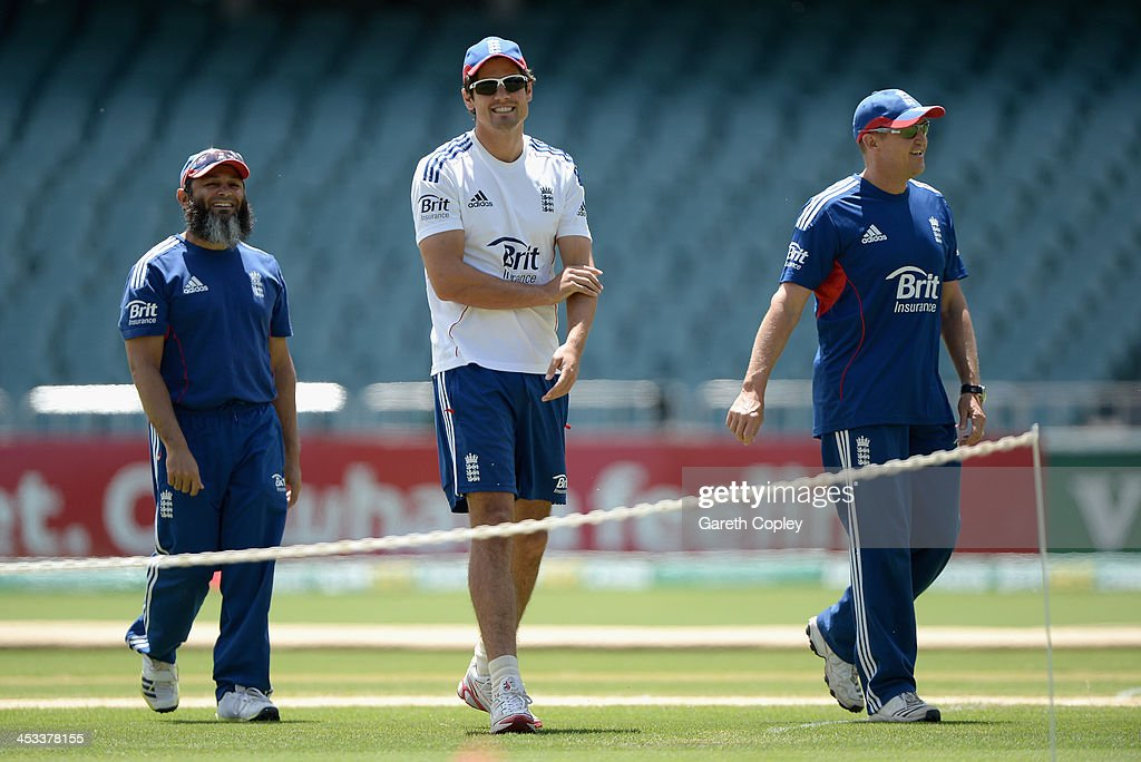 England captain Alastair Cook coach Andy Flower and spin bowling coach Mushtaq Ahmed during an England Nets Session at Adelaide Oval on December 4...