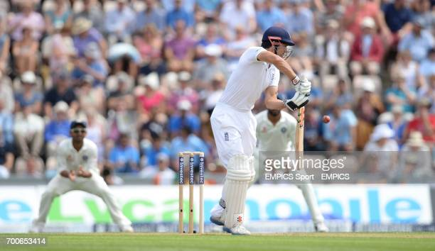England captain Alastair Cook edges a chance to India's Ravindra Jadeja as he bats during day one of the Third Investec Test match at the Ageas Bowl...