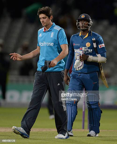 England captain Alastair Cook exchanges words with Angelo Mathews of Sri Lanka after the Royal London One Day International match between England and...