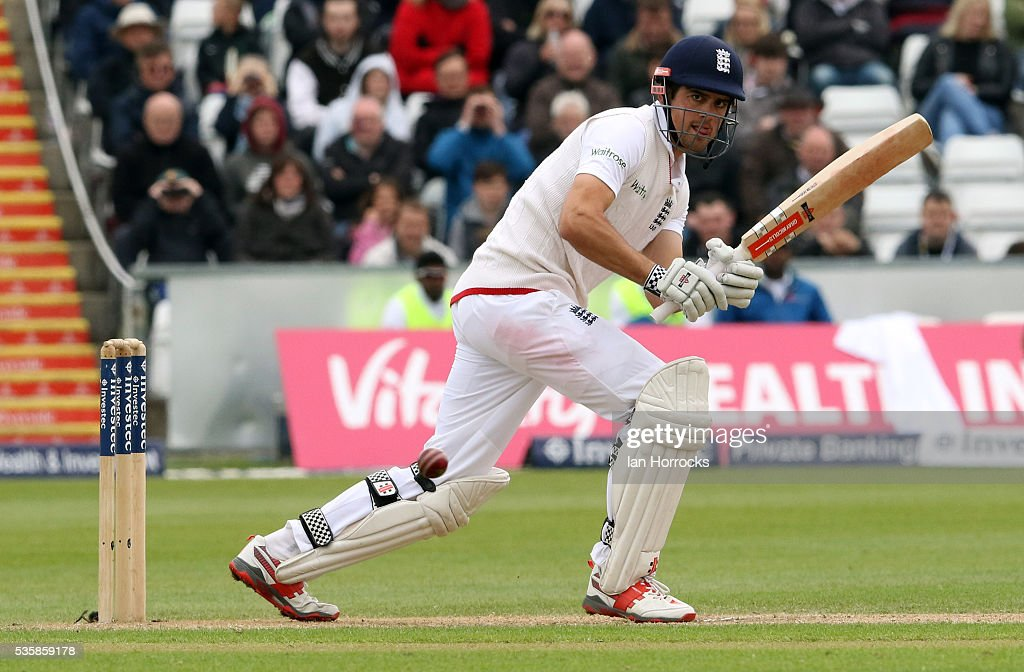 England captain Alastair Cook hits a boundry to take him to ten thousand test runs during day four of the 2nd Investec Test match between England and Sri Lanka at Emirates Durham ICG on May 30, 2016 in Chester-le-Street, United Kingdom.
