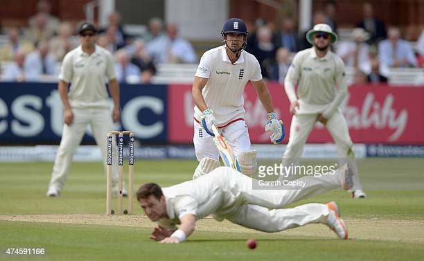 England captain Alastair Cook hits the ball past Matt Henry of New Zealand during day four of 1st Investec Test match between England and New Zealand...
