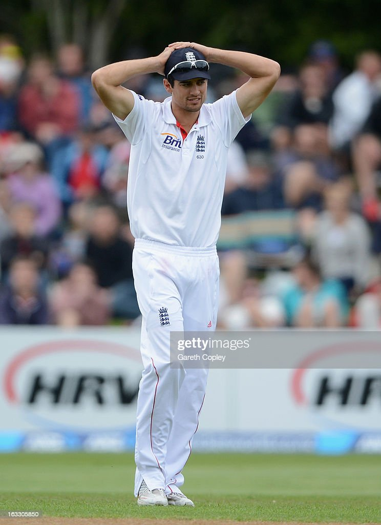 England captain <a gi-track='captionPersonalityLinkClicked' href=/galleries/search?phrase=Alastair+Cook+-+Cricket+Player&family=editorial&specificpeople=571475 ng-click='$event.stopPropagation()'>Alastair Cook</a> holds his head during day three of the First Test match between New Zealand and England at University Oval on March 8, 2013 in Dunedin, New Zealand.
