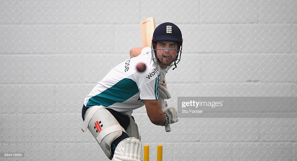 England captain <a gi-track='captionPersonalityLinkClicked' href=/galleries/search?phrase=Alastair+Cook+-+Cricket+Player&family=editorial&specificpeople=571475 ng-click='$event.stopPropagation()'>Alastair Cook</a> in batting action during England Nets session ahead of the 2nd Investec Test match between England and Sri Lanka at Emirates Durham ICG on May 26, 2016 in Chester-le-Street, United Kingdom.