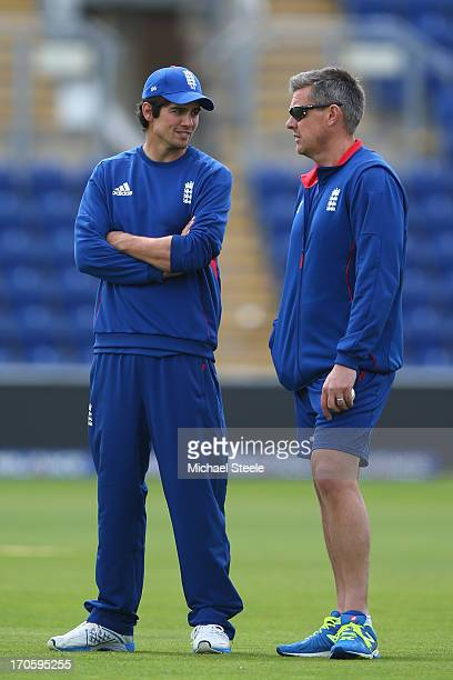 England captain Alastair Cook in conversation with head coach Ashley Giles during the England nets session at the SWALEC Stadium on June 15 2013 in...